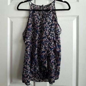Floral Ruffle Front Halter Top
